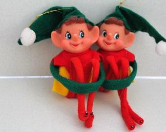 Pair of Elf  Ornaments -Vintage Knee Hugger Pixie Elf - 4 Inches-Vintage Christmas Ornament