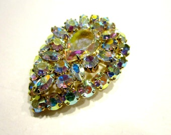 "Vintage Signed Sherman Brooch Aurora Borealis Designer Pin 2 1/8"" Wedding Gift Designer Collectible Pin"