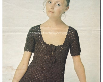 Vintage Crochet dress empire line 60s mini Pattern PDF 875 from WonkyZebra