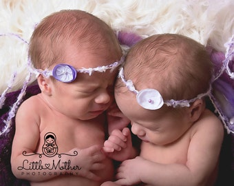 Twin Tieback Set, Twin Headbands, Handmade Flower Tiebacks, Newborn Tieback, Newborn Headband, Newborn Halo, RTS, White, Lavender