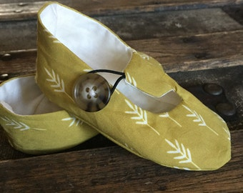 Gold Green Wheat Print Loafer Booties for Baby Girl or Boy - Baby Boy Shoes