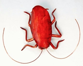 3 1/2 inch Red Roach Wall Copper Metal Sculpture