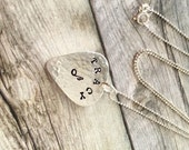"""Ladies MINI Guitar Pick Necklace, Personalized Pick Charm on 18"""" Chain, Sterling Silver, Gifts For Her, Pick Jewelry, Custom Pick, Initials"""