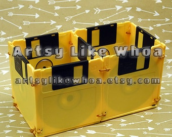 """Christmas in July Sale - Retro 3.5"""" Floppy Disk Caddy Boxes - Eco-Friendly Upcycled Desk Organizer - Yellow"""