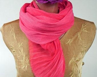 Silk Scarf Magenta, Chiffon Crinkle Scarf, Wrap, Soft Pleated Silk Scarf, Hand dyed Ruffled Scarf, Long Luxury Silk Scarf, Gift for Her
