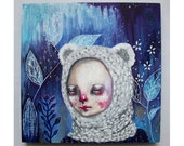 folk art Original girl painting whimsical mixed media art painting on wood canvas 8x8 inches - Winter Blues