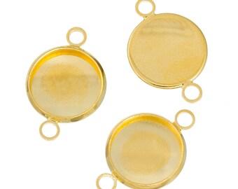 10pcs Gold 12mm Connector - Wholesale Gold Connector Pendant Setting Bezel Tray Bracelet Blank Fit 12mm - DIY Bracelet Photo Pads B44