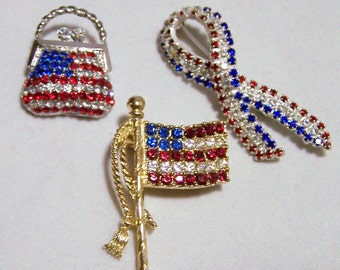 3 Vintage Red White Blue Rhinestone Pin Lot Patriotic Brooch Collection 916DG