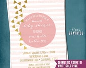 Pink & Gold Baby Shower Invite. Confetti. Rustic Baby Bridal Shower Party Invitation. Boho. Black Gold Mint Stripes. Any Colors or Occasion