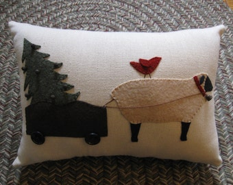 Sheep Carting Christmas Tree Applique Pillow