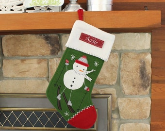 Snowman on Skiis Nordic Wool Stocking with Monogram Pottery Barn --- Free Monogram