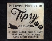 Personalized Pet Memorial Stone, Grave Marker, Bereavement Gift, pet remembrance, RIP, paw prints, 12X12, Dog, Cat, animal