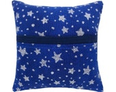Blue Tooth Fairy Pillow with pocket, silver sparkling star & dot print fabric, navy blue bias tape trim for boys or girls