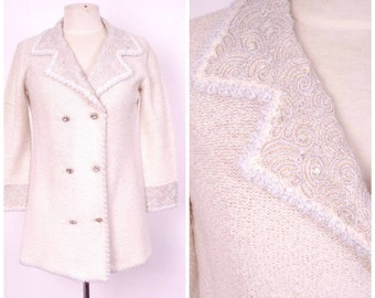60s 70s St John Knits jacket luxury designer ivory white knit double breasted jacket with sequins and rhinestone buttons cream winter white