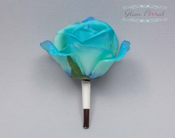 Turquoise Blue Rose Boutonniere . Real Touch Flowers. Caroline Rose Collection