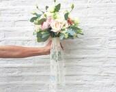 """custom monogrammed lace bouquet ribbon (2.25"""" wide), bridal bouquet, bridesmaid bouquet"""