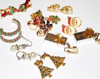 Vintage Brooch Destash Jewelry Lot Xmas Jewelry Christmas Earrings Santa Christmas trees snowmen and more