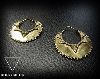 Boucles d'oreille ethnic en laiton # brass tribal ethnic # tribal hoop