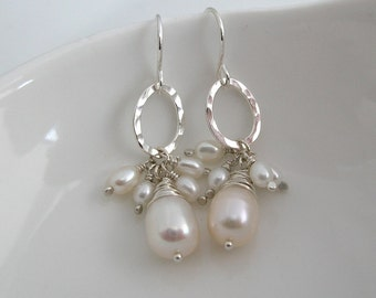 Biscay Pearl Earrings All White Pearls