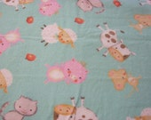 Farm Animals Flannel Fabric 1/2 yard Pre Washed for Diapers, pj's