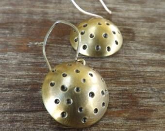Textured Brass Domed Earrings, Hammered Brass Earrings, Brass Dot Earrings on Etsy.