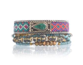 Ethnic bracelet set - rustic bracelet - multistrand beaded bracelet - tibetan silver bracelet - bohemian jewelry - bohemian bracelet