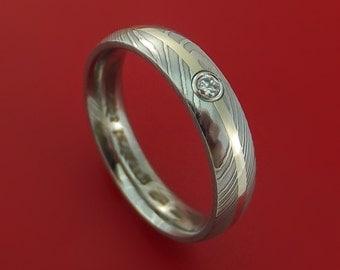 Damascus Steel 14K White Gold Ring with Beautiful Diamond Wedding Band
