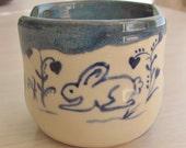 Sponge Holder  Ceramic Pottery Letter Holder Cell Phone Holder Handmade Pottery Blue and White Gift Idea Stoneware   Blue  Bunny Design