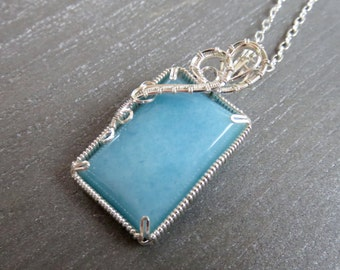 Silver Amazonite Necklace - Silver Wire Wrap Amazonite Necklace - Natural Stone Necklace - Elegant Necklace - Valentines Day Gift Idea