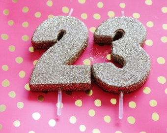 SALE 2 GLITTER GOLD Candle Number Numeric Birthday Cake Candles Sweet Sixteen 16th 18th 21st 30th 50th 60th 70th 80th Glittery Sparkle Glam