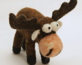 Needle Felted Moose . Animals. Gifts For Kids. Kids Gift. Felted Moose . Miniature Animal. Felt Animals. Waldorf Toy. Ornament