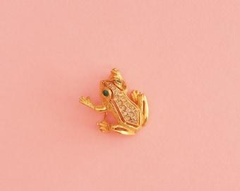 60s Frog Brooch // Gold Toned Brooch // Baroque Brooch // Animal Brooch // Crystals // Vintage