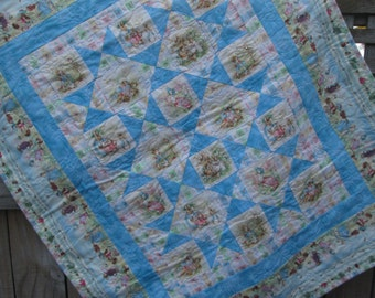 Peter Rabbit Baby Quilt Throw Playmat In Blue Pink Or By