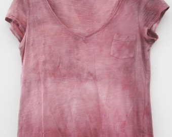 tie dye ( shibori ) with natural Indigenous pigments / t-shirt short leaves