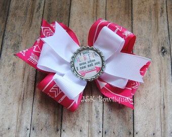XL classic bow....I will walk by FAITH even when I can not see - Arrow...hot pink and white