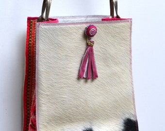 CLEARANCE SALE! Black and white petite hair on cowhide bag with bronze strap and colorful textile accents from Thailand