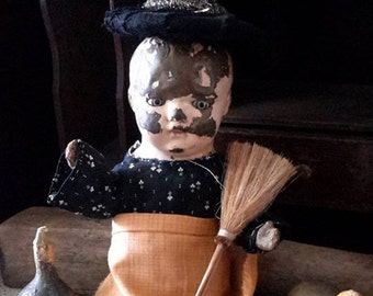 Primitive tin head cloth halloween witch doll free shipping