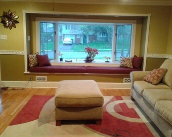 Window Seat Cushions and Covers with Piping