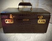Vintage Brown Croco Train Case / Trans-World Creations / Overnighter Carry on Luggage, Suitcase / made in California / wedding card holder