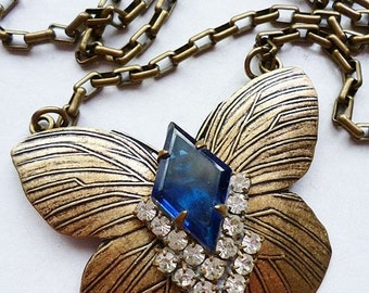 VALENTINES DAY SALE I Am Blue // Brass Butterfly Necklace with Blue Jewel, Art Deco 1950s Blue Rhinestone Gem, Repurposed Bohemian Flapper G