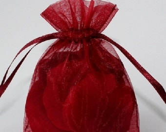 Wedding Favors Table Decorations BURGUNDY 3x4 Organza Bags 100