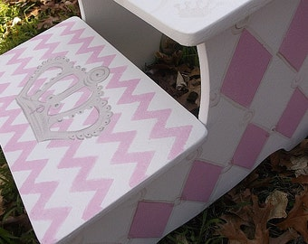 Silver Crowns, Pink Chevron, Kids, Steps & Stools, Benches, Kids Baby,  Princess Decor, Crowns, Kids Furniture, Personalized