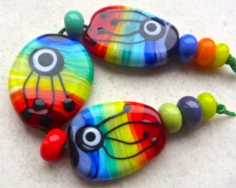 Pencil Box - Handmade Lampwork Bead Set (11) by Anne Schelling, SRA