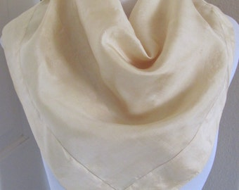 """Vintage Lovely Solid Ivory Silk Scarf - 22"""" Inch 56cm Square"""