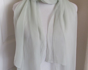 "Lovely Solid Pale Green Silk Chiffon Scarf - 24"" x 65"" Long"