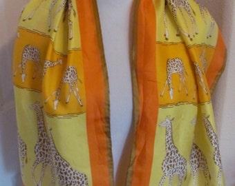 "ECHO // Lovely Vintage Yellow Orange Giraffe Silk Scarf // 15"" x 46"" Long"