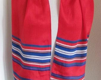 "Liz Claiborne // Beautiful Red Blue Striped Silk Skinny Scarf // 10 x 52"" Long"