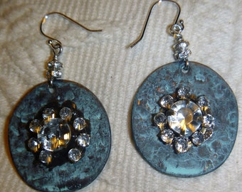 Patina metal with rhinestones and crystals on sterling hooks