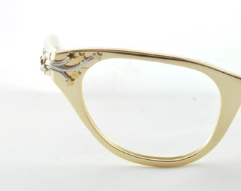 Tura Cat Eye Glasses, Gold with Raised Stars and Silver Vine, 1950s, 1960s