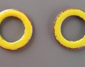 Enamel Copper Washers Canary Yellow